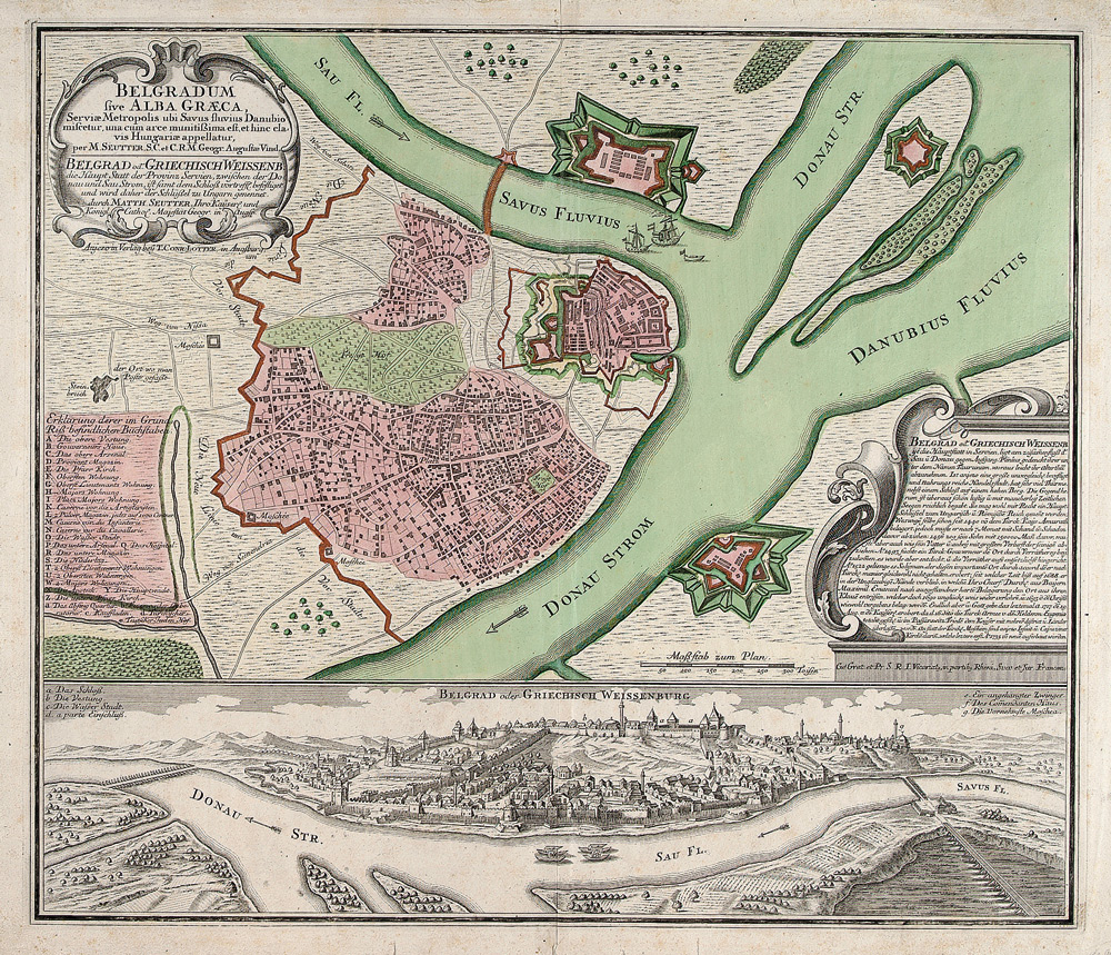 Plan and panorama of Belgrade in the 18th century